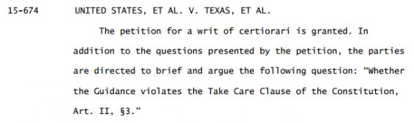 Texas Immigration Case Supreme Court Order granting Cert.