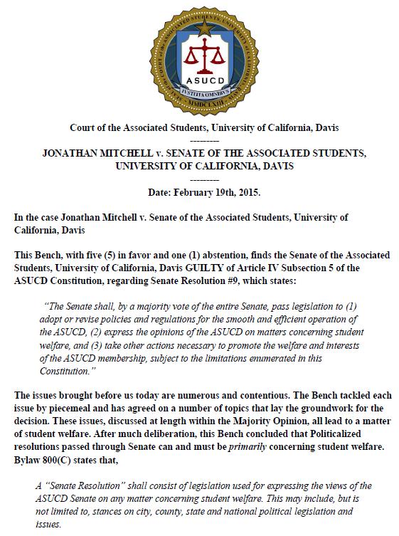 UC Davis - Mitchell v Senate Divestment Verdict page 1