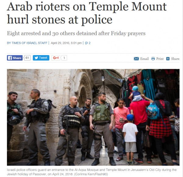 Arab rioters hurl stones at police, Temple Mount