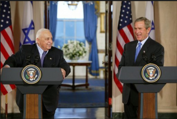 President George W. Bush and PM Ariel Sharon, Cross Hall, The White House, April 14, 2004 | credit: White House archives