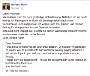 Hofer Admist Defeat in Austria
