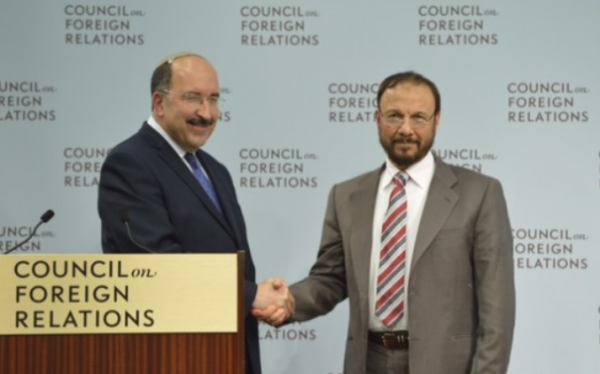 Israel's Foreign Ministry Director Dore Gold (L) and former Saudi government advisor Anwar Eshki | June 4, 2015 | Credit: Times of Israel
