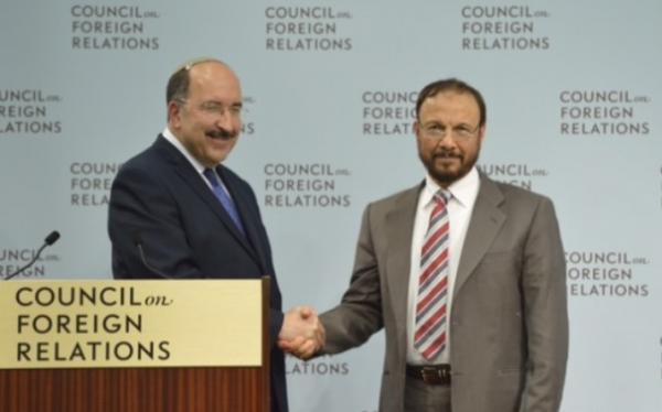 Israel's Foreign Ministry Director Dore Gold (L) and former Saudi government advisor Anwar Eshki | June 4, 2015 | Credit: Times of Israel