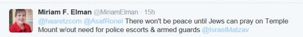 Elman tweet, no peace until no armed guards