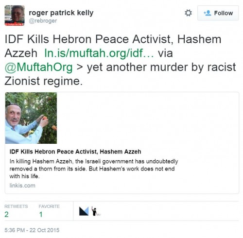 Hashem Azzeh Roger Patrick Kelly Twitter Murder Peace Activist