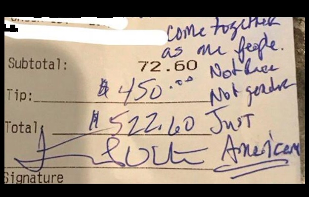 http://townhall.com/tipsheet/guybenson/2017/01/25/awesome-trump-fans-leave-huge-tip-kind-note-for-stunned-antitrump-waitress-n2276893