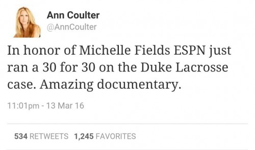 Ann Coulter Tweet Michelle Fields Duke Lacrosse