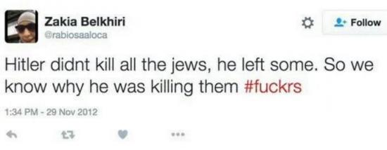 Zakia Belkhiri Hitler Tweet