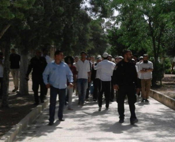 Waqf guards surround a small group of Jewish visitors | Temple Mount | Credit: ElderofZion