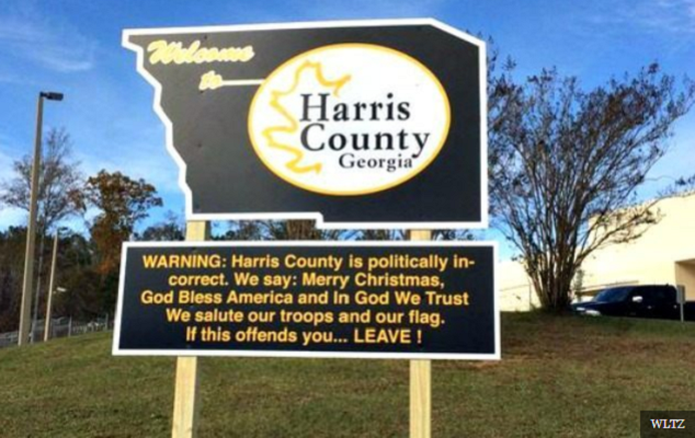 http://www.wltz.com/2015/11/24/harris-county-sheriffs-office-puts-up-politically-incorrect-welcome-sign/