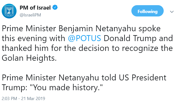 https://twitter.com/IsraeliPM/status/1108791329549680641