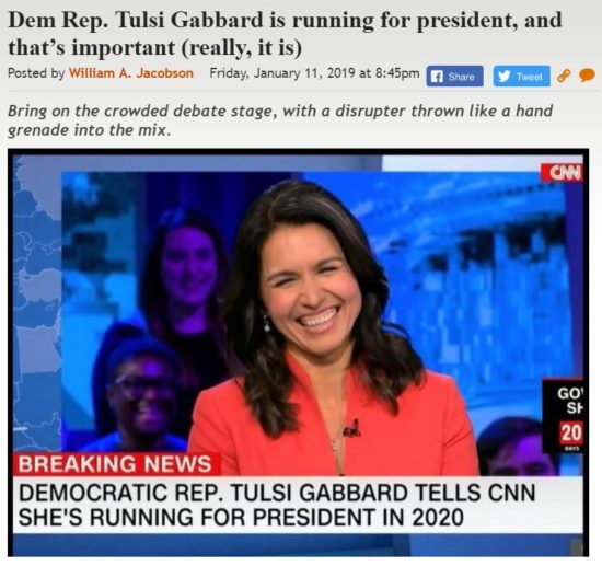 https://legalinsurrection.com/2019/01/dem-rep-tulsi-gabbard-is-running-for-president-and-thats-important-really-it-is/