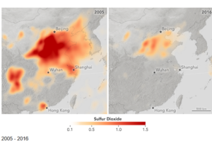 NASA: https://www.earthobservatory.nasa.gov/images/91270/sulfur-dioxide-emissions-fall-in-china-rise-in-india