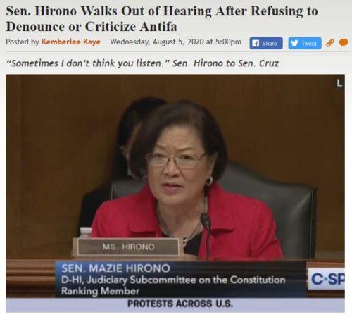 https://legalinsurrection.com/2020/08/sen-hirono-walks-out-of-hearing-after-refusing-to-denounce-or-criticize-antifa/